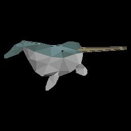 Narwhal Flipper Stoßzahn niedrig Poly