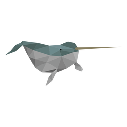 Narwhal flipper tusk tail low poly