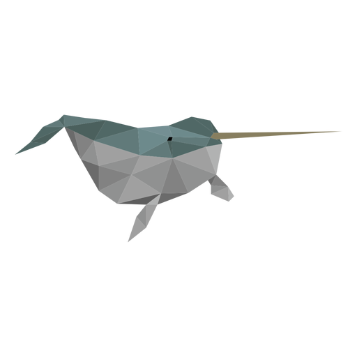 Narwhal flipper tusk tail low poly Transparent PNG