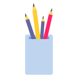 Pencil pot color colour flat