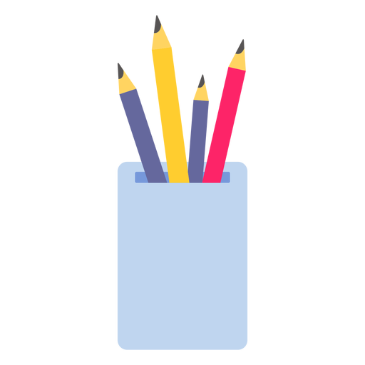 Pencil pot color colour flat