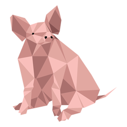 Pig snout ear hoof sitting low poly