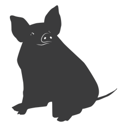 Pig snout ear hoof sitting silhouette
