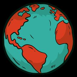 Planeta tierra globo africa america plana