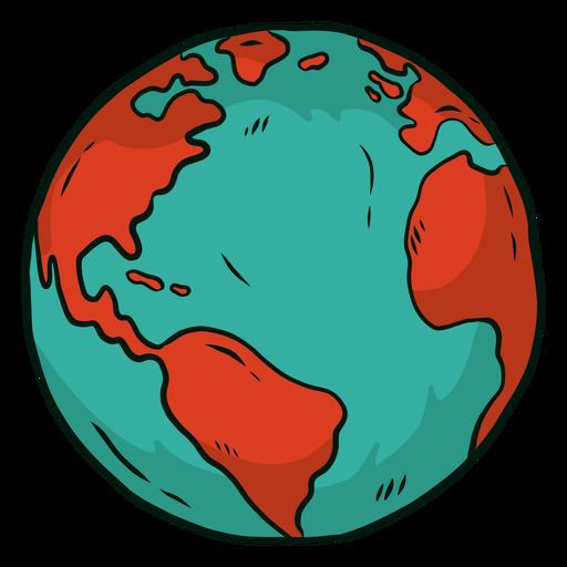 Planet earth globe africa america flat