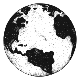 Planet earth globe america africa silhouette