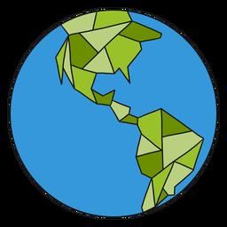 Planeta tierra globo américa frontera plana