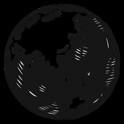 Planeta terra globo silhueta ásia