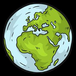 Planet earth globe europe africa flat