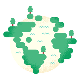 Planet earth globe tree forest flat