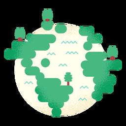Planeta tierra globo arbol madera bosque plano