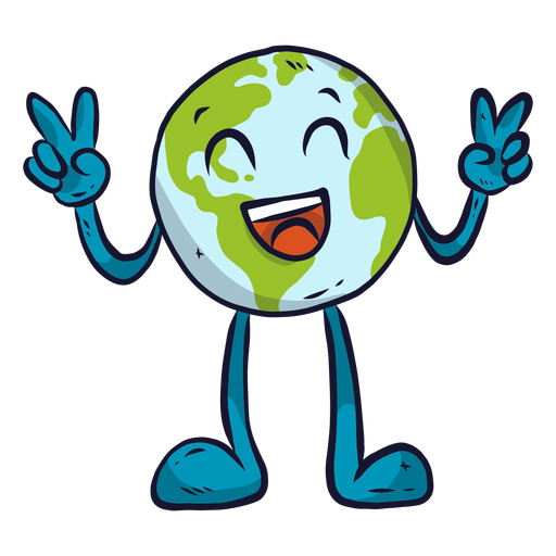 Planet earth happiness laugh smile gesture flat Transparent PNG