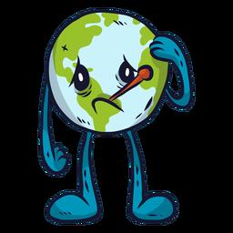 Planeta tierra enfermedad enfermedad tristeza melancolía termómetro plano