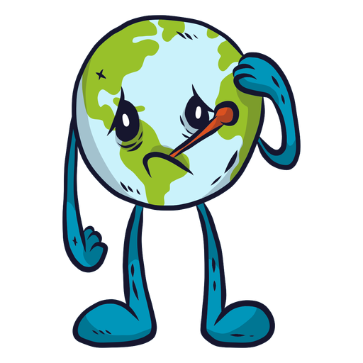 Planet earth illness sickness sadness melancholy thermometer flat