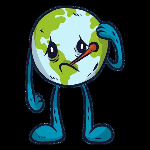 Planeta tierra enfermedad enfermedad tristeza melancolía termómetro plano Transparent PNG