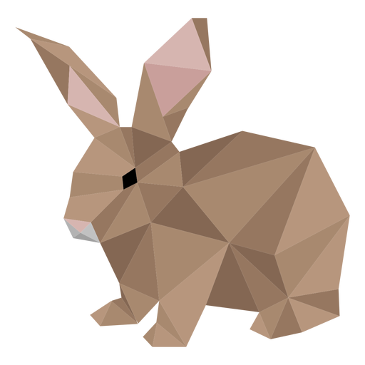 Rabbit bunny muzzle ear low poly Transparent PNG