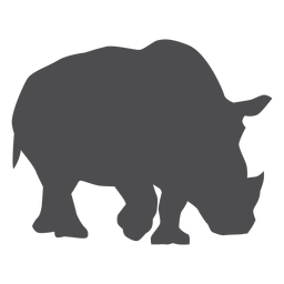 Silhueta de cauda de chifre de rinoceronte de rinoceronte