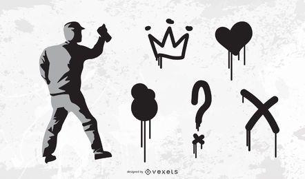 Conjunto de vectores de elementos de graffiti