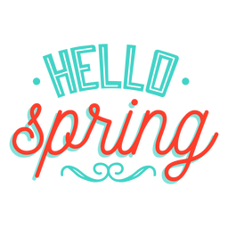 Insignia de viñeta de primavera Hola hola