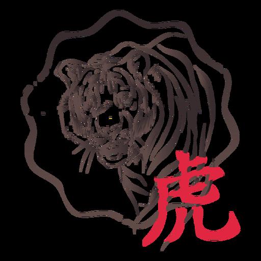 Tigre jerogl?fico china hor?scopo sello emblema