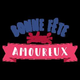 Etiqueta engomada de la insignia del corazón francés amoureux bonne fete des amoureux