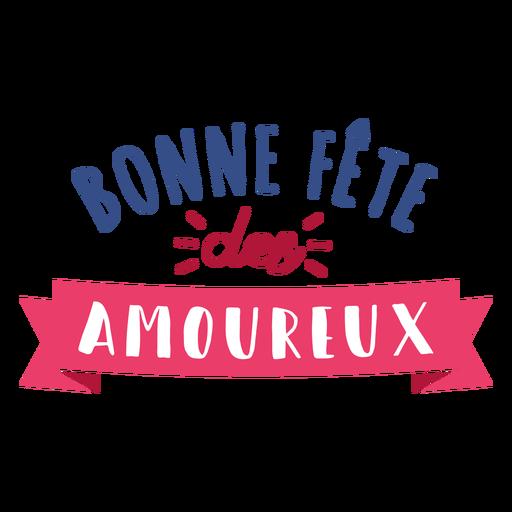 Valentine french bonne fete des amoureux heart badge sticker Transparent PNG