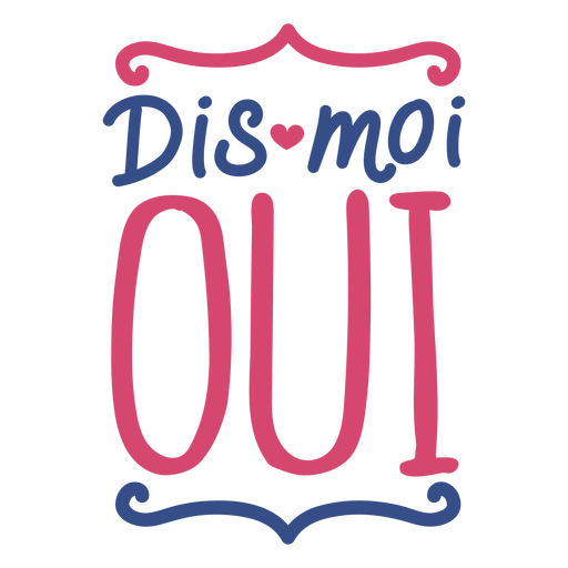 Valentine french dis moi oui heart badge sticker Transparent PNG