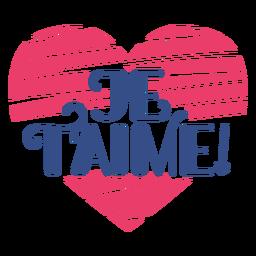 Etiqueta do emblema do coração do je t'aime do Valentim francês