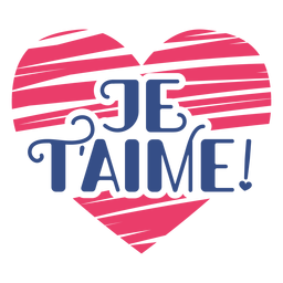Valentine french je t'aime heart badge sticker