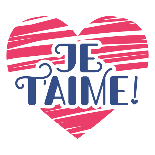 Valentine french je t'aime heart badge sticker Transparent PNG