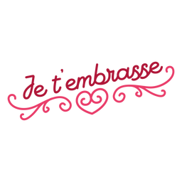 Valentine french je tâ ???? embrasse corazón insignia pegatina