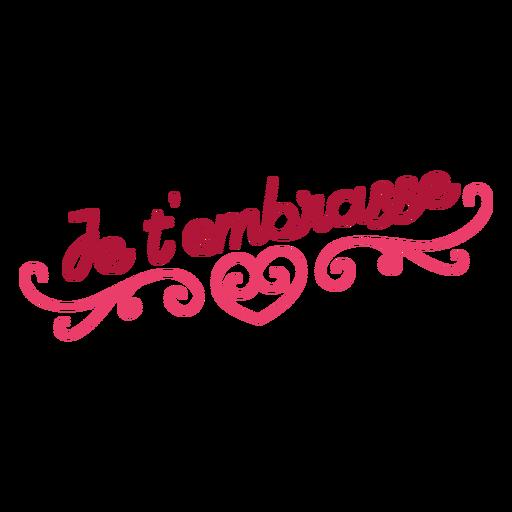 Etiqueta do emblema do coração do je t'embrasse do Valentim francês Transparent PNG