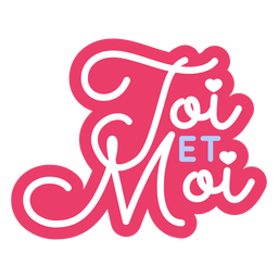 Valentine french toi et moi heart badge sticker