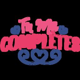 Valentine french tu me complete heart badge sticker