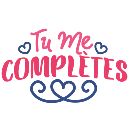 Valentine french tu me complete heart badge sticker Transparent PNG