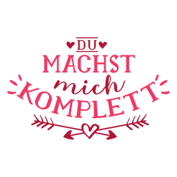 Etiqueta engomada de la insignia de Valentine alemán du machst mich komplett