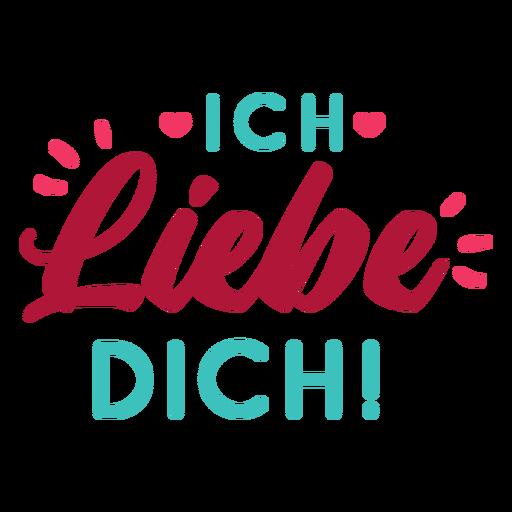 Valentine alemão ich liebe dich badge adesivo Transparent PNG