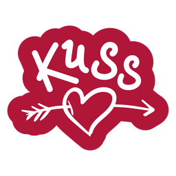 Valentine german kuss badge sticker