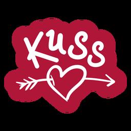 Valentine german kuss badge sticker