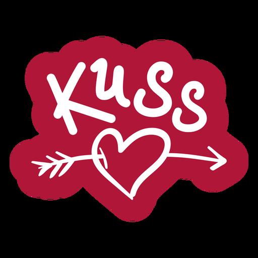 Valentine german kuss badge sticker - Transparent PNG