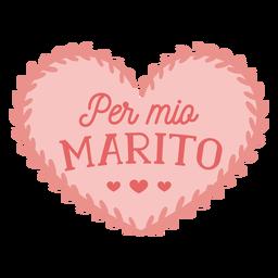 Valentim italiano por mio marito crachá adesivo valentines