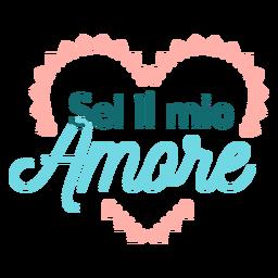 Etiqueta engomada de la insignia de Valentine italiano sei il mio amore