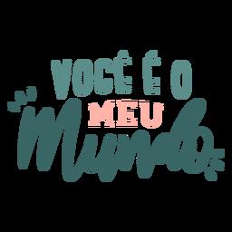 Etiqueta engomada de la insignia del mundo de voce eo meu portugués