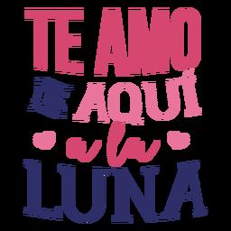 Etiqueta engomada de la insignia del corazón de la luna del amor de te amo de aquí