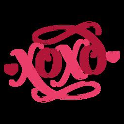 Etiqueta engomada de la insignia del corazón xoxo de San Valentín