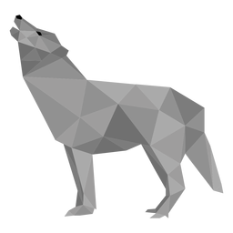 Wolf howl predator tail low poly