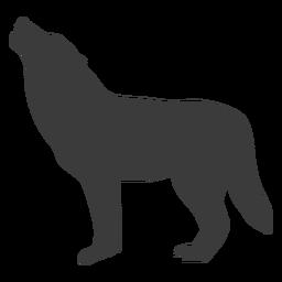 Lobo aullido de la cola de depredador silueta