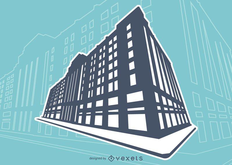 Edificio silueta ilustración