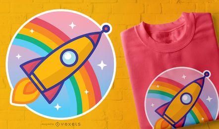 Diseño de camiseta de cohete de dibujos animados