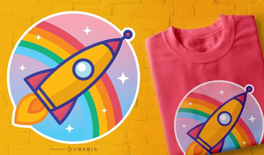 Diseño de camiseta de Rocket de dibujos animados